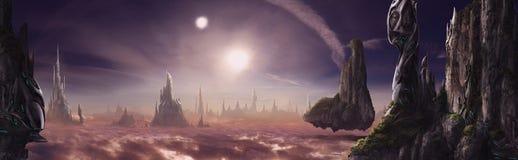 Fantazja krajobraz z spławowymi wyspami ilustracji