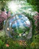 Fantazja ogród blisko lasu Zdjęcia Royalty Free