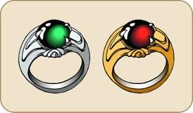 Fantazja pierścionek z kamieniem Dla gemowego projekta royalty ilustracja