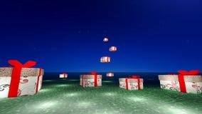 Fantazja prezenta pudełko jest Spławowym lampionem Obraz Royalty Free