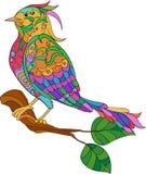 Fantazja ptak Ręka rysujący doodle Dorosła antistress kolorystyki strona Fotografia Royalty Free