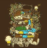 Fantazji gigantyczny drzewo, gra, węże i drabiny, zwierzęta na drzewnej ilustracji, wektor royalty ilustracja