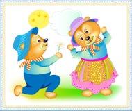 Fantazji ilustracja śliczny mały niedźwiedź daje kwiatu sympatia Kartka z pozdrowieniami dla walentynki Pociągany ręcznie wektoro ilustracja wektor