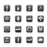 Fante di marina semplice, navigazione ed icone del mare illustrazione di stock