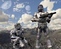 Fanti di marina dello spazio sul pianeta abbandonato - 1 Fotografia Stock Libera da Diritti