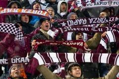 Fanáticos del fútbol rápidos de Bucarest Imagenes de archivo