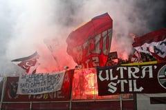 Fanáticos del fútbol rápidos de Bucarest Fotografía de archivo libre de regalías