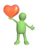 fantoche 3d, realizando no coração do vermelho das mãos Fotos de Stock