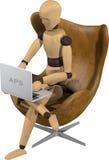 Fantoche de madeira com caderno Foto de Stock Royalty Free
