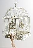 Fantoche de madeira que escapa do birdcage Fotografia de Stock Royalty Free