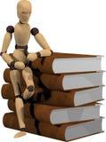 Fantoche e livros de madeira Imagens de Stock Royalty Free