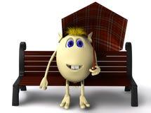 Fantoche que senta-se sob o guarda-chuva no banco marrom Imagens de Stock Royalty Free