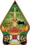Fantoche tradicional indonésio da sombra da cor verde de Wayang Gunungan - ilustração do vetor ilustração do vetor