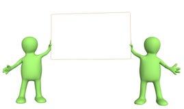 fantoches 3d com bandeira da informação Fotografia de Stock