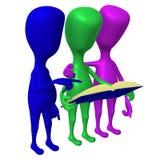 Fantoches 3d da vista três que lêem o livro azul ilustração royalty free