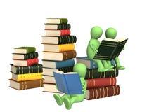 fantoches 3d, lendo os livros Fotos de Stock