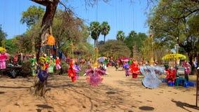 Fantoches de suspensão da corda, Bagan, Myanmar video estoque