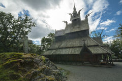 Fantoft梯级教会,卑尔根,挪威 免版税图库摄影