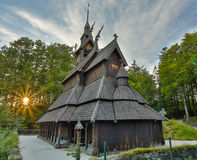 Fantoft Stave Church. Old wooden building in Bergen, Norway Royalty Free Stock Photo