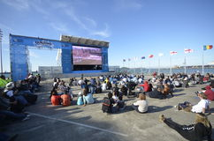 Fanzone in Auckland city. Aucklands Fanzone on the waterfront for the 2011 Rugby World Cup. Supporters are seen here watching a live game on the big screen on a Stock Images
