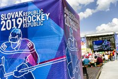 Fanzone in city Kosice during ice hockey championship. KOSICE, SLOVAKIA - MAY 11: Fanzone in centre of city during  2019 IIHF World Championship on May 11, 2019 stock photography