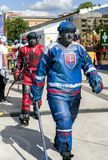 Fanzone in city Kosice during ice hockey championship 2019. KOSICE, SLOVAKIA - MAY 11: Fanzone in centre of city during  2019 IIHF World Championship on May 11 stock image