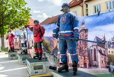 Fanzone in city Kosice during ice hockey championship 2019. KOSICE, SLOVAKIA - MAY 11: Fanzone in centre of city during  2019 IIHF World Championship on May 11 stock images