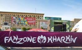 FANZONE em Kharkov, Ucrânia. EURO-2012 Fotos de Stock Royalty Free