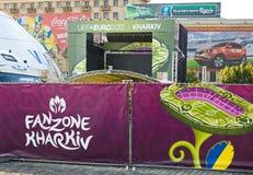 FANZONE in Kharkov, de Oekraïne. Euro-2012 Royalty-vrije Stock Afbeelding
