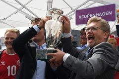 Fanzone officiel EURO2020 de pas d'inaugurattion images libres de droits