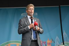 Fanzone officiel EURO2020 de pas d'inaugurattion image libre de droits