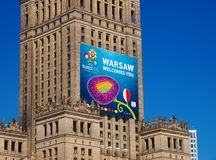 Fanzone and Palace of Culture in Warsaw, Poland Stock Image