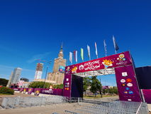 Fanzone and Palace of Culture in Warsaw, Poland. Warsaw will host the opening match of the UEFA Euro 2012 on June 8 Royalty Free Stock Photos