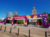 fanzone poland warsaw för euro 2012 Arkivbild