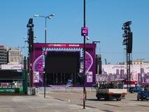 fanzone poland warsaw för euro 2012 Royaltyfri Foto