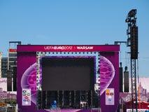 fanzone poland warsaw för euro 2012 Arkivfoton