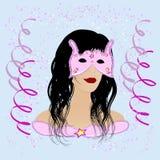 Façonnez la fille avec le masque et costumé en réception de carnaval Images stock