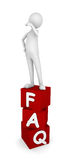 FAQ. Concept depicting man standing on FAQ boxes; great for web sites, advertisements, help concepts vector illustration