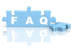 FAQ. Four parts of a puzzle. Objects over white Stock Photos