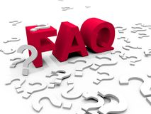 FAQ. The word FAQ surrounded by questionmarks stock illustration