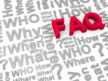 FAQ. The word FAQ surrounded by the words why, what, who, how, where and when stock illustration