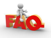 FAQ. 3d people - human character, person and Frequently Asked Questions sing. FAQ. 3d render stock illustration