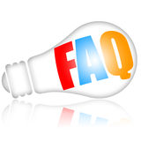 FAQ. Frequently asked questions concept with bright electric lamp isolated over white background stock illustration