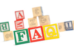 FAQ. Wooden blocks stacked horizontally royalty free stock images