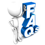 FAQ. Frequently asked questions or faq in short. 3d figure holding words in place, on white background, blue text royalty free illustration