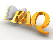 Faq. 3d. Faq on white background. 3d royalty free illustration