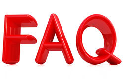 FAQ 3d red text. On a white background Royalty Free Stock Photos