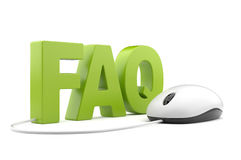 FAQ 3D text with computer mouse. On  white Stock Images