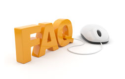FAQ 3D text with computer mouse. on white vector illustration