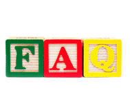 FAQ. Frequently asked question FAQ in colorful blocks stock images